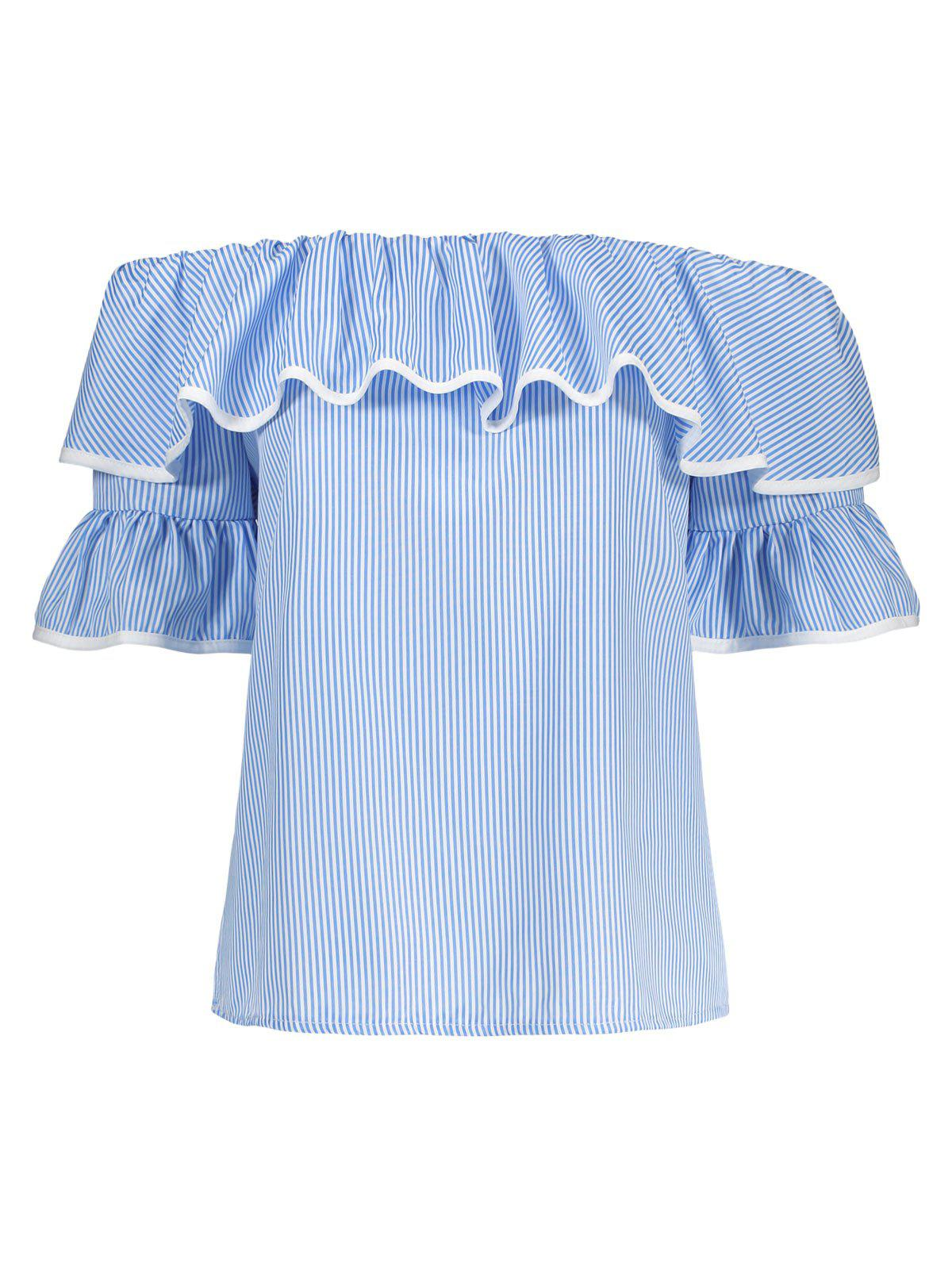 Bell Sleeves Off The Shoulder Top - BLUE M