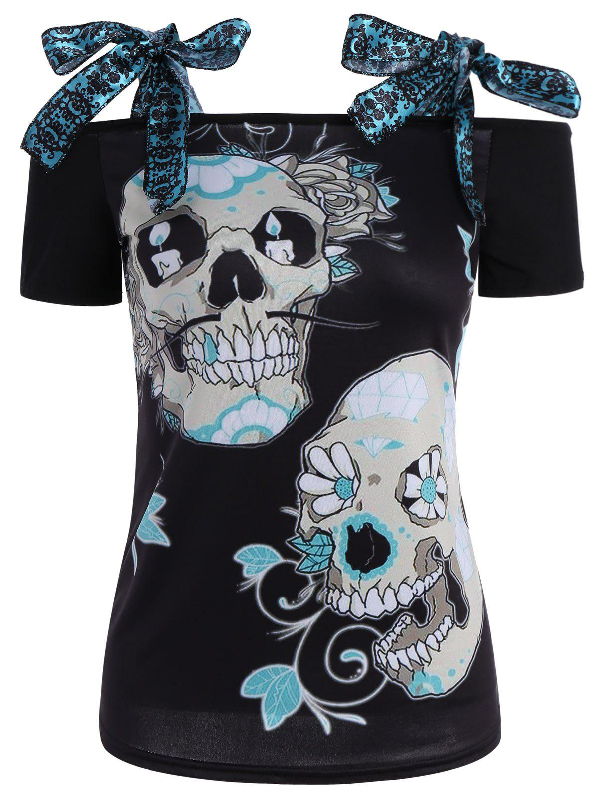 Self Tie Skeleton Print Tee - PALOMINO XL