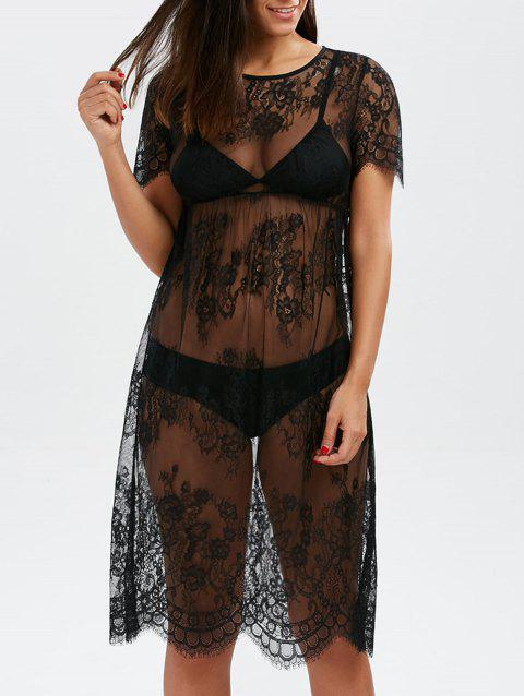 Floral Scalloped Lace Long Tunic Cover-Ups Dress - BLACK L