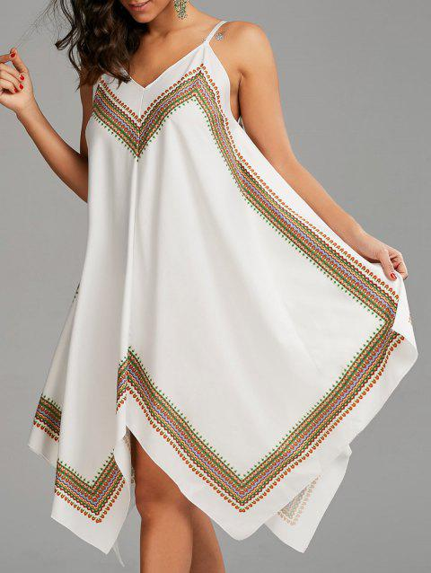 Printed Oversized Slip Handkerchief Dress - WHITE XL