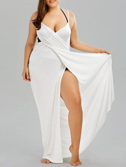 21ace58731 63% OFF] 2019 Plus Size Maxi Flowy Beach Cover Up Wrap Dress In ...