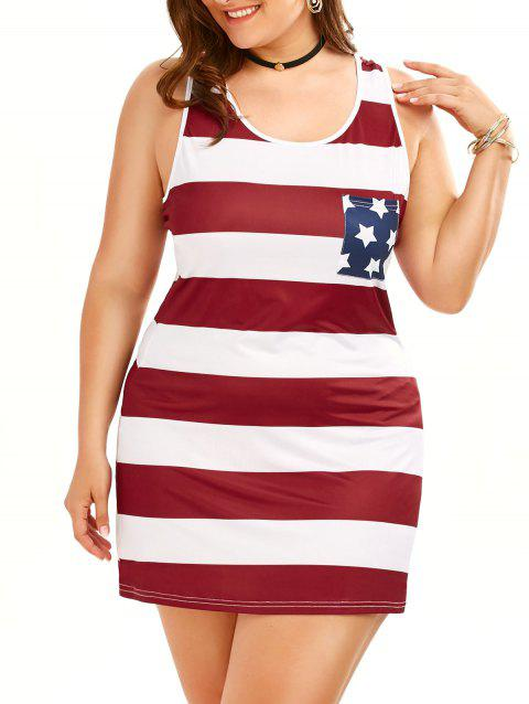 41% OFF] 2019 Plus Size Sleeveless Tank American Flag Dress In ...