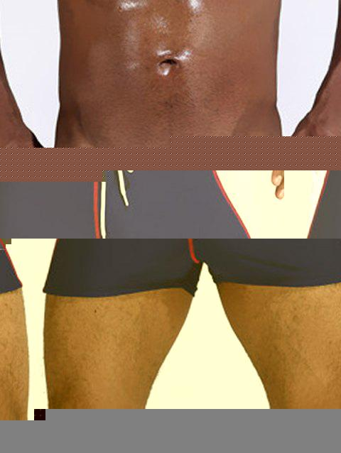 Color Block Stretch Drawstring Swimming Trunks - RED L