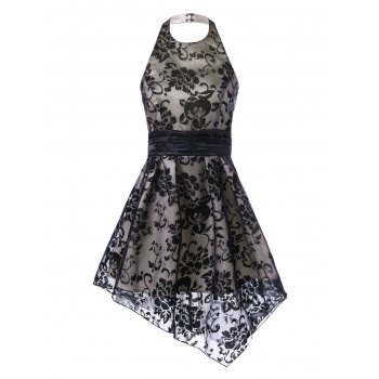 Halter Backless Floral Asymmetrical Dress
