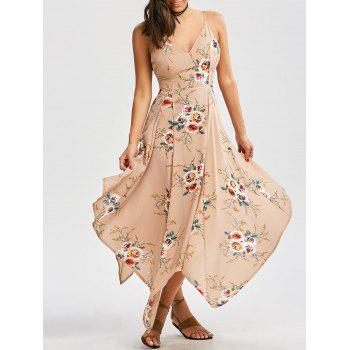 Floral Print Criss Cross Asymmetrical Dress