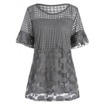 Plus Size Openwork Flare Sleeve Ruffle Dressy Top