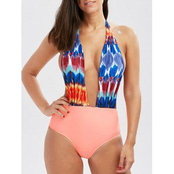 One Piece Open Back Printed Swimsuit