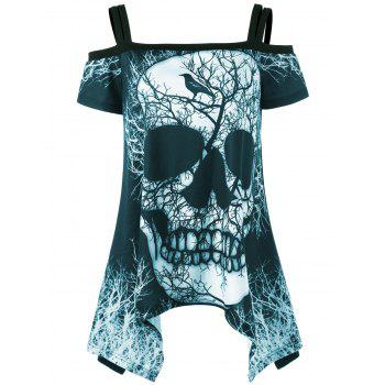 Open Shoulder Skull Handkerchief T-shirt