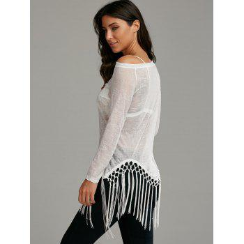 Skew Neck See Through Fringed Top - S S