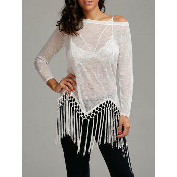 Skew Neck See Through Fringed Top - WHITE L
