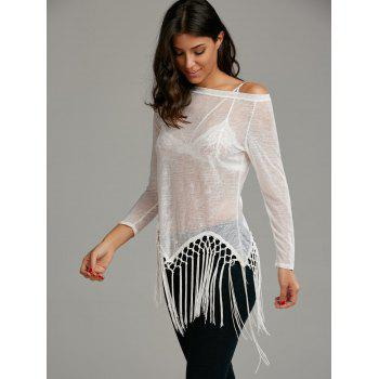 Skew Neck See Through Fringed Top - XL XL