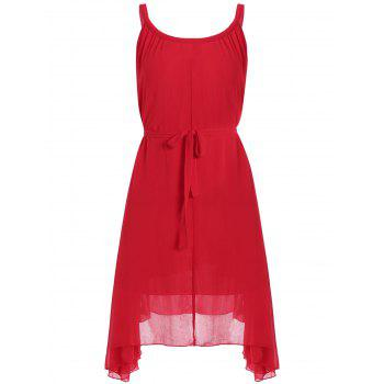 Plus Size Belted Chiffon Spaghetti Strap Flowy Dress