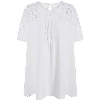 Plus Size Openwork Round Neck Plain T-Shirt