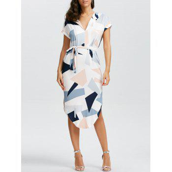 Geometric Print Short Sleeve Midi Dress
