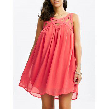 Cut Out Sleeveless Chiffon Dress