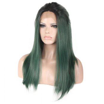 Colormix Long Free Part Silky Straight Lace Front Synthetic Wig - BLACK/GREEN