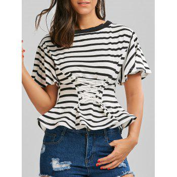 Off The Shoulder Lace Up Stripe Top