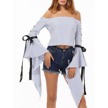 Off The Shoulder Bell Sleeve Striped Top