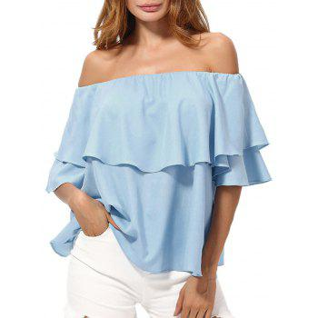 Off The Shoulder Overlay Chiffon Blouse