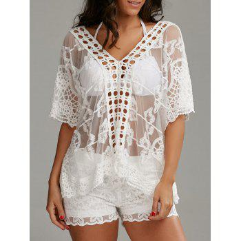 Oversized V Neck Embroidered Top with Shorts