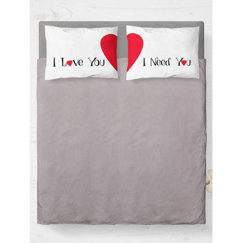 Brushed Fabirc Double Pillow Case with Heart Letter Print