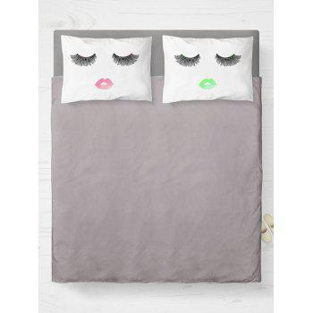 2 Pieces Face Print Brushed Fabric Bedroom Pillow Case