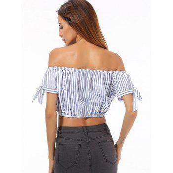 Off The Shoulder Striped Crop Top - STRIPE M