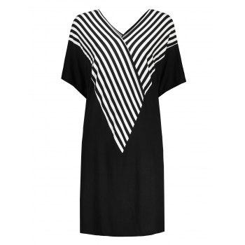 Plus Size Stripe Dolman Sleeve V Neck Tee Dress