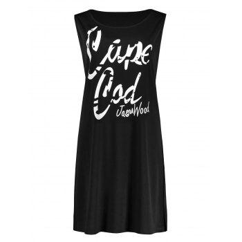 Plus Size Funny Letter Swing Tank Dress