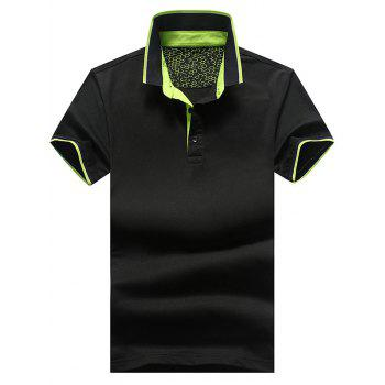 Stripe Trim Casual Polo Shirt