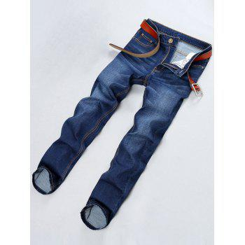 PU Leather Applique Straight Leg Jeans