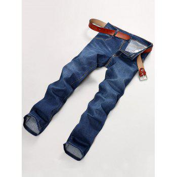 Bleach Wash Applique Straight Leg Denim Pants