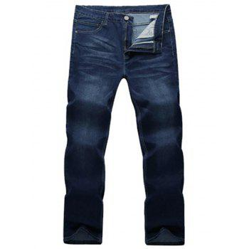 Bleach Wash Straight Leg Basic Jeans