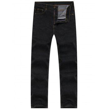 Zipper Fly Basic Straight Leg Denim Pants