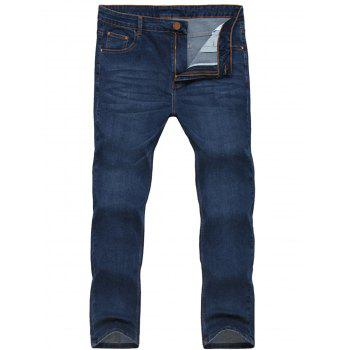Zipper Fly Stretchy Straight Leg Jeans