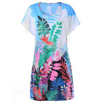 Tropical Leaf Print Hawaiian Dress