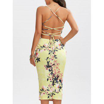 Lace-Up Floral Bodycon Slip Dress
