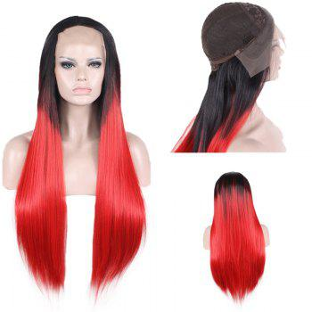 Lace Front Long Free Part Two Tone Straight Colormix Synthetic Wig