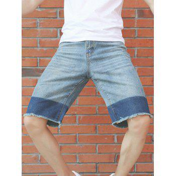 Zipper Fly Deckle Edge Panel Design Jean Shorts