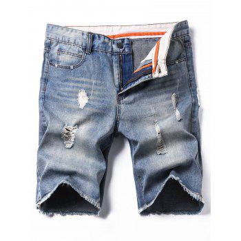 Zipper Fly Deckle Edge Bleach Wash Ripped Denim Shorts