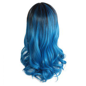 Long Center Parting Wavy Colormix Ombre Lolita Synthetic Wig - BLACK/BLUE