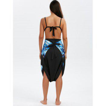 Graphic Two Tone Self Tie Cover-ups Dress - BLUE M