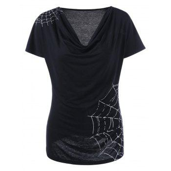 Spiderwebs Graphic Cowl Neck T-shirt