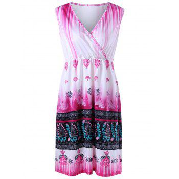 Plus Size Ombre Tribal Printed Surplice Dress