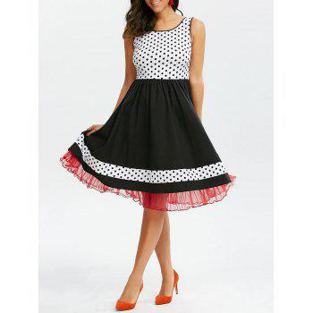 Polka Dot Sleeveless Tulle Trim 50s Dress