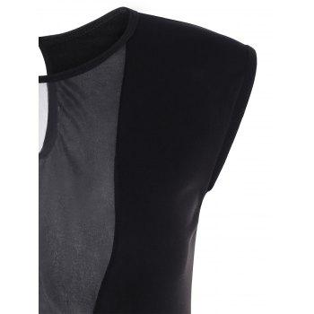 Sleeveless Deep V See-Through Bodysuit - BLACK ONE SIZE