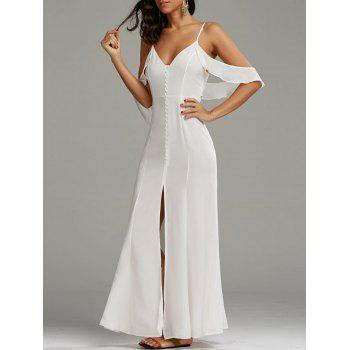 Cold Shoulder High Slit Maxi Party Dress