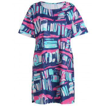 Plus Size Colorful Graffiti T-shirt Dress with Pockets