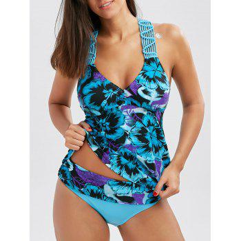 Braided Panel Push Up Floral Tankini Set