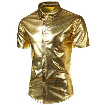Short Sleeves Metallic Shirt
